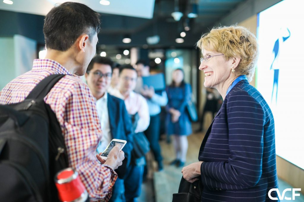 After her workshop for start-ups, Origin X General Counsel Erika Evasdottir chats with attendees at CVCF 2019 in Hong Kong